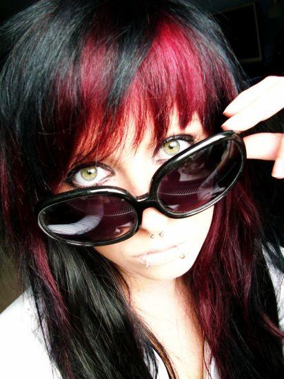scene girl bibi barbaric with red and black hair